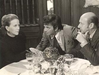 Julie Harris, Peter Falk, and Donald Pleasence in COLUMBO: Any Old Port in a Storm